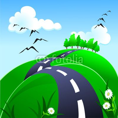 Hilly road  #vector #stockimage