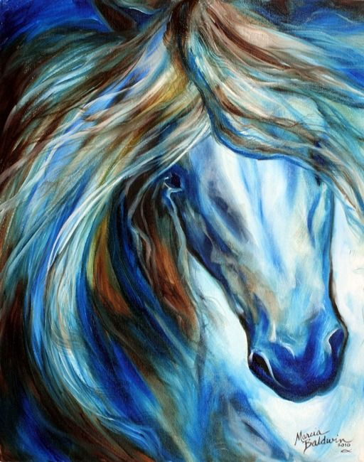 """""""BLUE MANE EVENT 2016"""" by Marcia Baldwin, Shreveport, Louisiana // The equine in blue, an abstract by Marcia Baldwin of M Baldwin Fine Art Originals. Specializing in horses, and her love of horses, Marcia tries to bring to the viewer the very essence of the horse. This original oil painting 2010 has been SOLD. Please enjoy the fine art... // Imagekind.com -- Buy stunning, museum-quality fine art prints, framed prints, and canvas prints directly from independent working artists and…"""