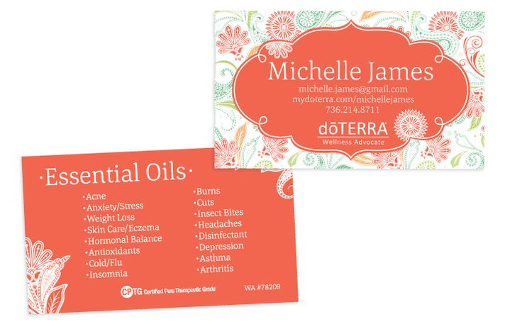 Paisley Coral Theme doTERRA Business Card for Wellness