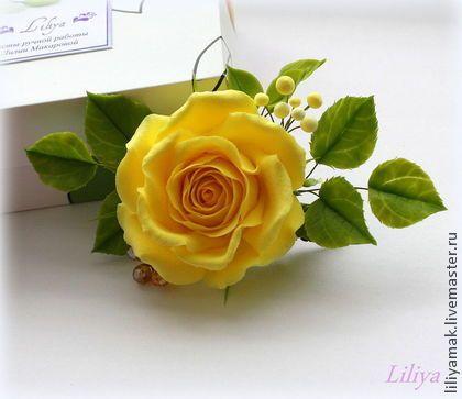 Жёлтая роза для украшения прически (зажим для волос) - жёлтый,заколка для волос
