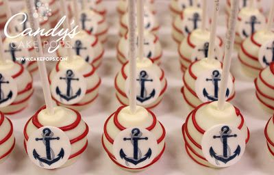 Nautical Theme Cake Pops - Anchors Away! cakepops.com Perfect for Baby Shower and Summer Celebrations!