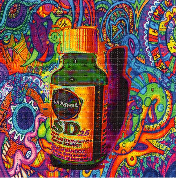 Sandoz Vial LSD #25 Color BLOTTER ART - perforated acid art paper - Kesey Leary Hofmann Owsley Grateful Dead psychedelic lsd sheet tabs