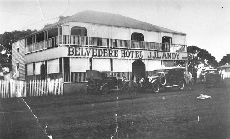 Picture of / about 'Redcliffe' Queensland - Jim Nethercote's taxi outside the Belvedere Hotel, Redcliffe, ca. 1925, Landy family probably took over this hotel around 1923. It operated at Woody Point.