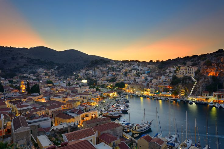 -Symi harbour at twilight.
