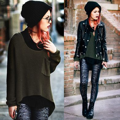 Looks for fall/ winter.   Layering for winter/ fall how to 2013 2014 women's fashion layer dresses cute punk goth black leather skirt high waist skinny jeans paltform boots ankle knee high trends girly unique rock jackets coats cardigan pullover slouchy hat beanie