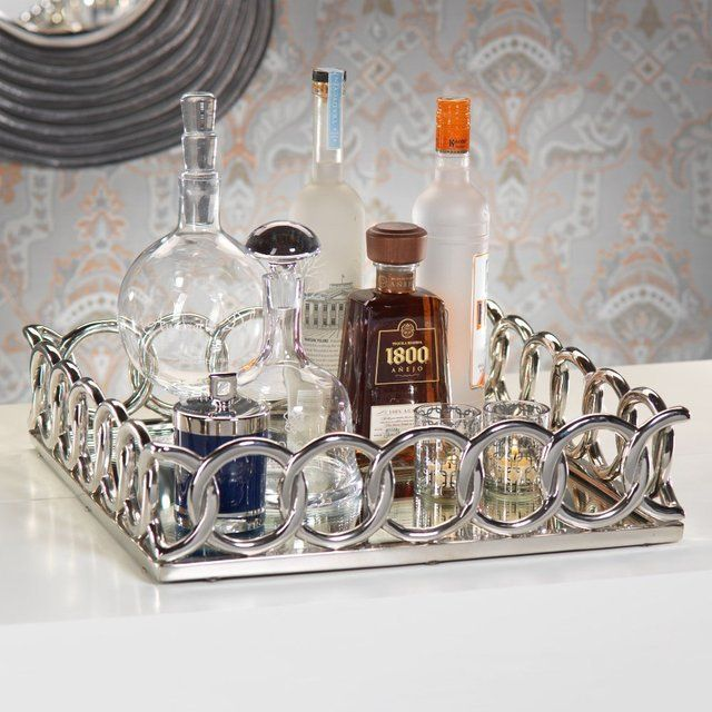 Chain Link Mirrored Serving Tray #Elegant, #Serve, #Tray