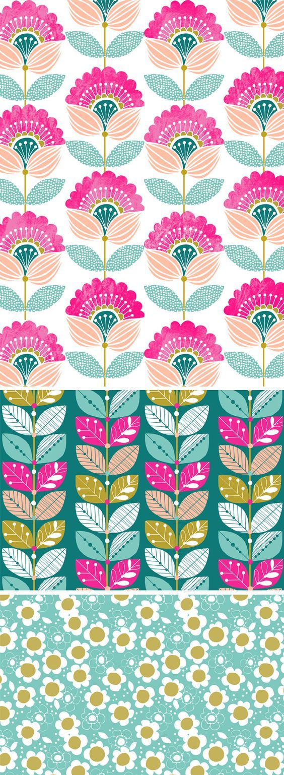 Love flower power daisy graffiti print cotton fabric 60s 70s retro - Retro Flowers In Light Blue Pink Rosa