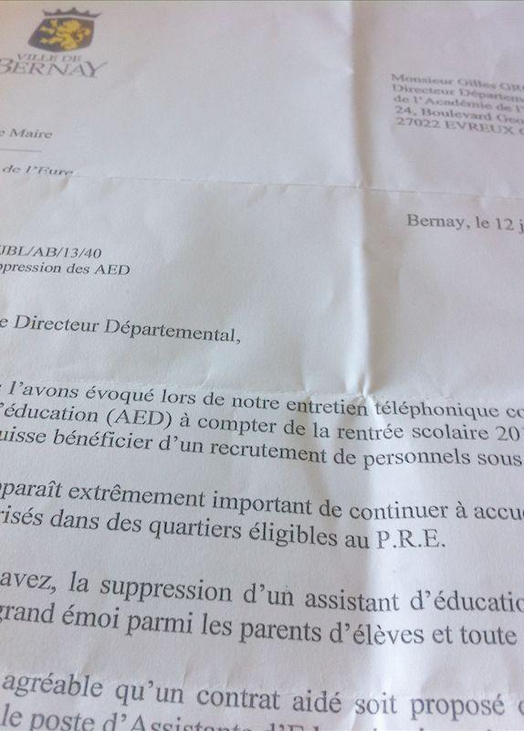 """Devenir du poste """"AED"""" de l'école Jean Moulin de Bernay ?"""