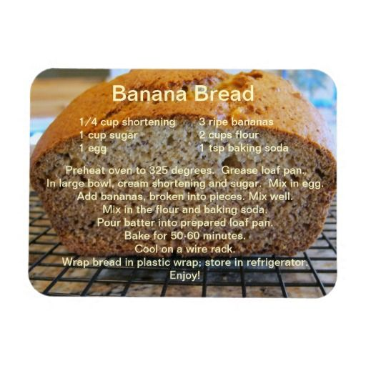 Simple Banana Bread Recipe on a Magnet