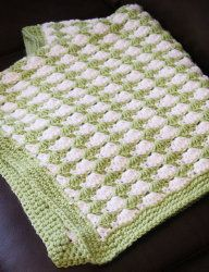 Green Seashell Stitch Baby Blanket