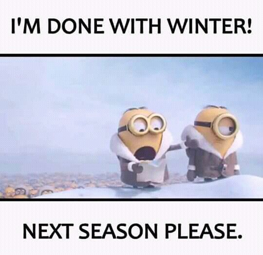 I'm done with winter!  Next season please. - minions