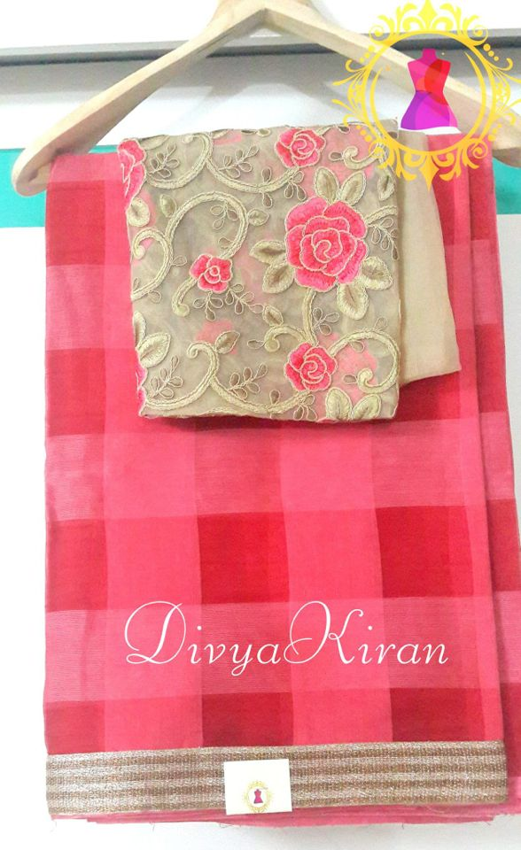 Pink checks Saree with contrast blouse !