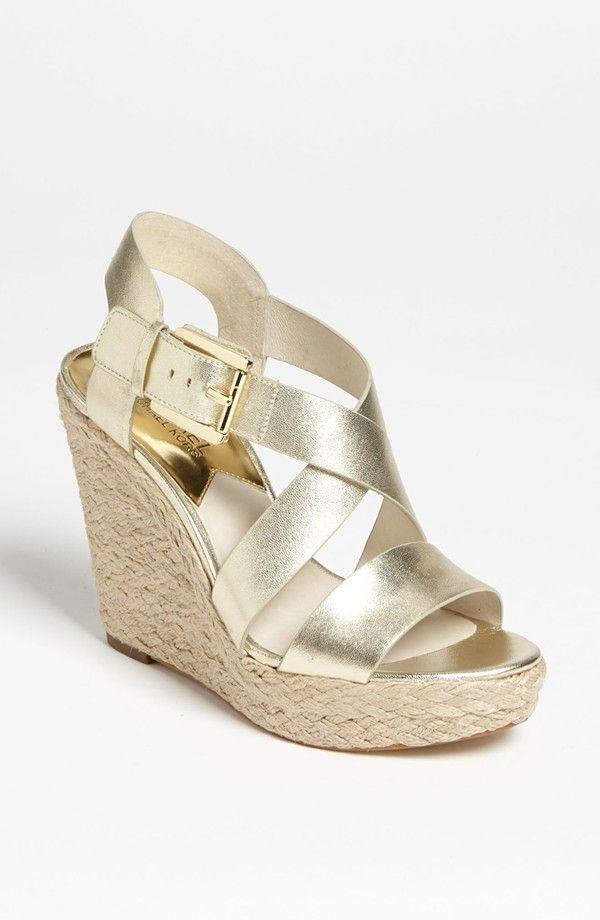 MICHAEL KORS Giovanna Wedge Sandal Pale Gold $129  LARGE AUTHENTIC DESIGNER SELECTION VISIT:  www.shorecasuals.com