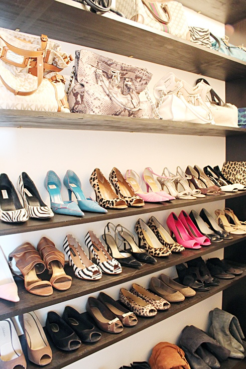 shelving for shoes and handbags easy to do on any wall in