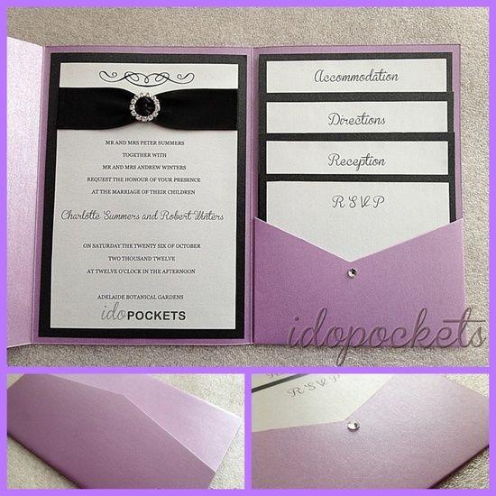 POCKET FOLD WEDDING INVITATIONS DIY ENVELOPES INVITE METALLIC SLEEVE CARDS - with fushcia pocket sleeve of course :)