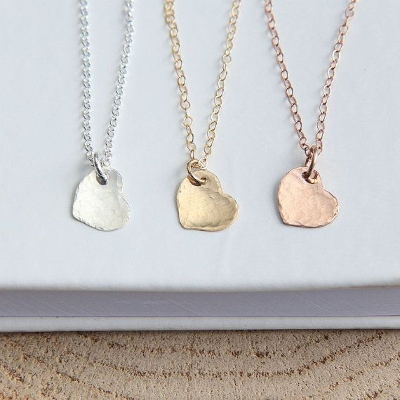 SALE Heart Necklace Rose Gold Heart Necklace by JewelleryJKW