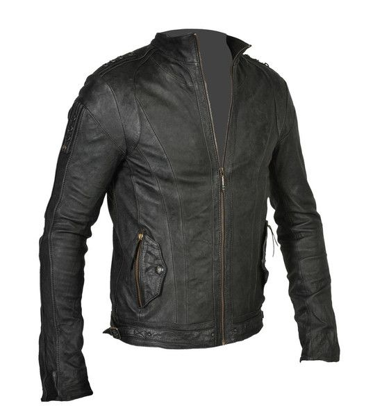 Tracer Jacket. $640. slim fitting sheep leather jacket with signature hand cast d-rings on the shoulders. double front pockets with signature brass snaps and tassel zips. weighty signature main zipper pull. custom waist side buckles and zippers on the cuffs. leather trimmed inside pocket. silver print on black lining.