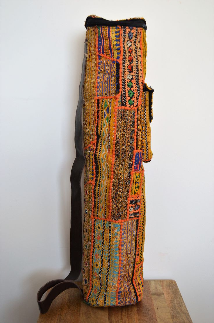 Yoga Mat Bag - One of a Kind - Handmade with antique ethnic textiles by BlueElephantLife on Etsy