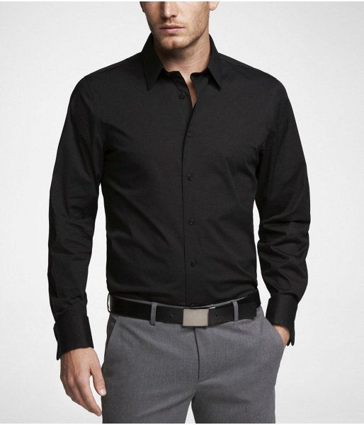 Express Mens 1Mx Modern Fit French Cuff Shirt Black, Small $59.90 : 《World Sales Shops》