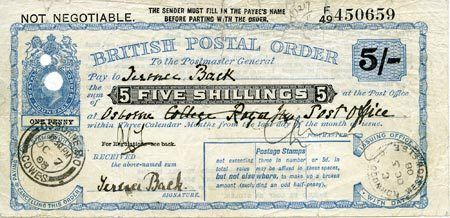 Postal order for 15/6 purchased by George Archer-Shee (aka The Winslow Boy).