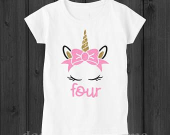 Unicorn Birthday Shirt Four 4 Outfit 4th Year Old Girl