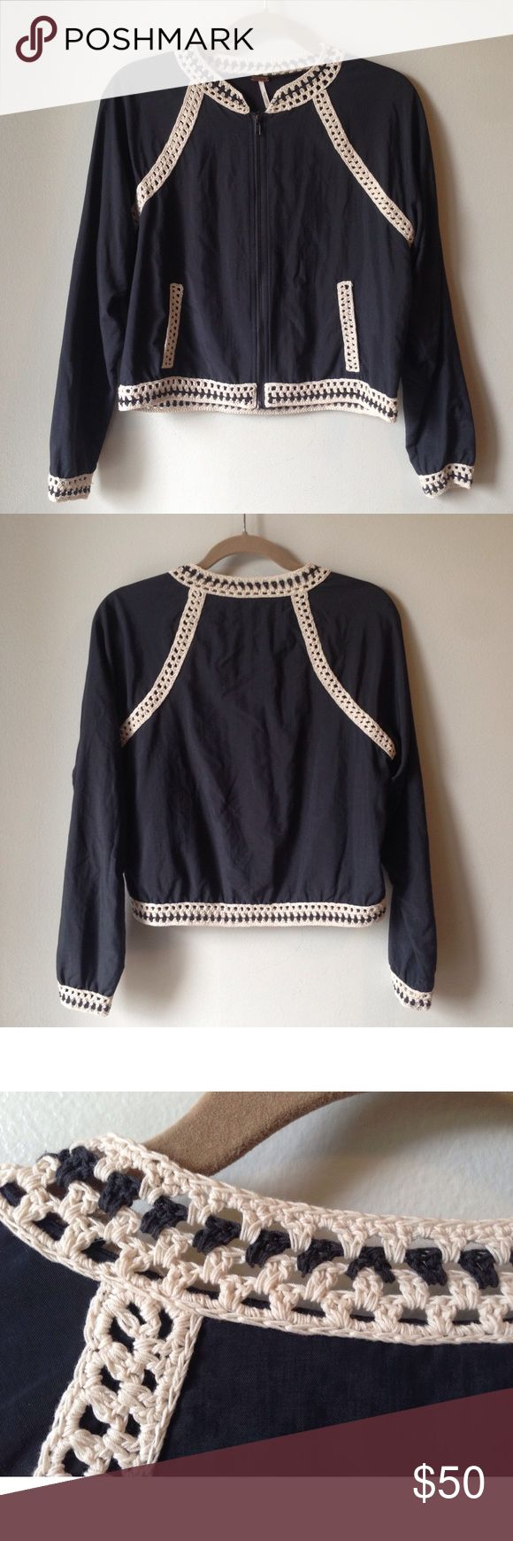// FREE PEOPLE Jacket with Crochet Trim // Free People baseball / bomber jacket with crochet trim. Cute jacket with eye catching detail. The cream just pops! Used but in great condition. Made of 100% Nylon, this is a great piece for spring!  • Size Medium • Color is an off black almost has a drop of Navy Free People Jackets & Coats