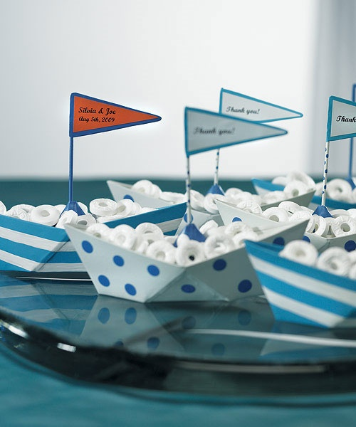 cute little metal boats for favors