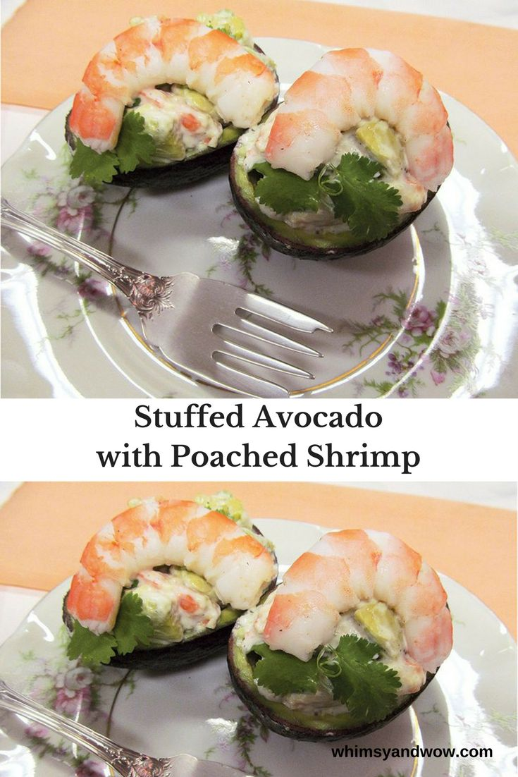 Delicious stuffed avocado and topped with succulent shrimp