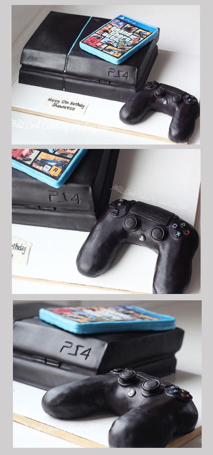 PS4 Cake!  Playstation 4 Cake!  All edible!  =)