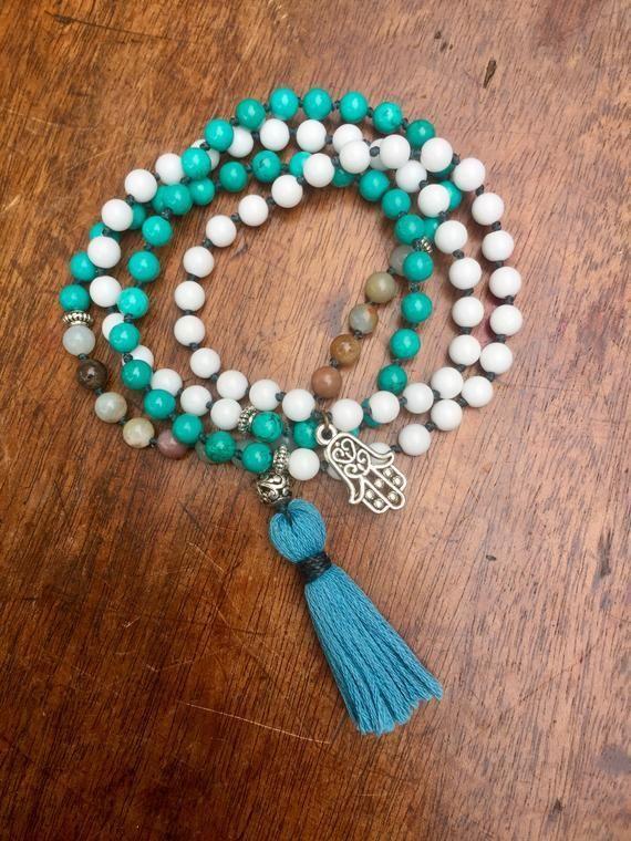 108 Mala Beads Amazonite Mala Alabaster Stone Mala Turquoise