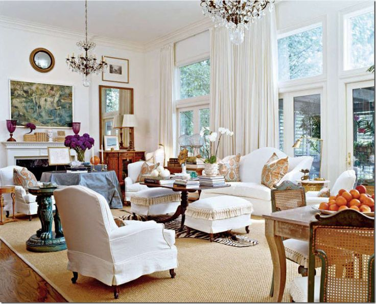 Traditional living room with seagrass rug and antiques and accessories - Southern Accents - cotedetexas
