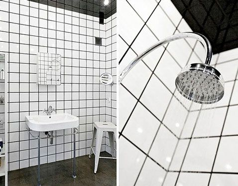 Douche carrelage blanc joints noirs bathroom pinterest for Blanchir joint carrelage