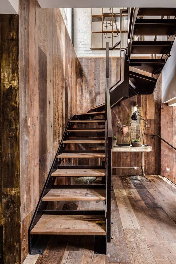 Industrial Staircase Design Oak Wood And Metal Industrial Home Decor Ideas Part 31