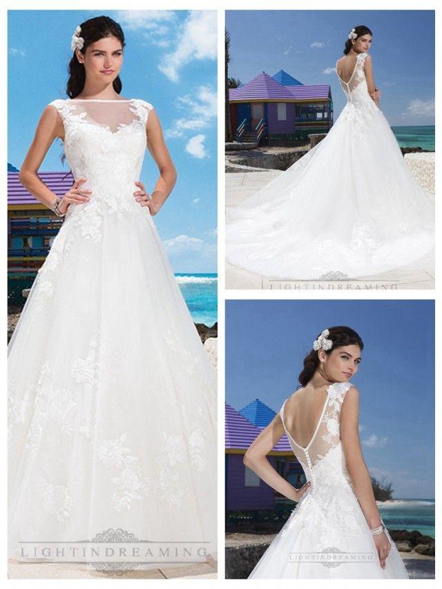 Satin Trim Illusion Sabrina Neckline And Drop Waist Line Tulle Wedding Gown