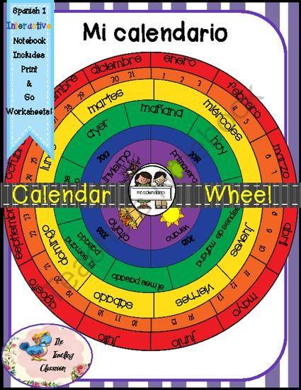 Spanish 1 Mi calendario -Calendar Wheel & Foldables - Interactive Notebooks from thetravelingclassroom on TeachersNotebook.com - (30 pages) - Mi calendario y la fecha- My Calendar Wheel and Date- months, seasons, years, days - all on a calendar wheel!