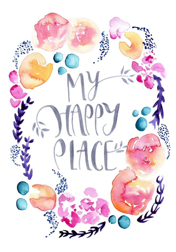 canvaspaintings: My Happy Place floral watercolour art print. Hand lettered…