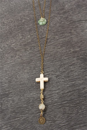 Lenna Agnes Shell and Cross Necklace