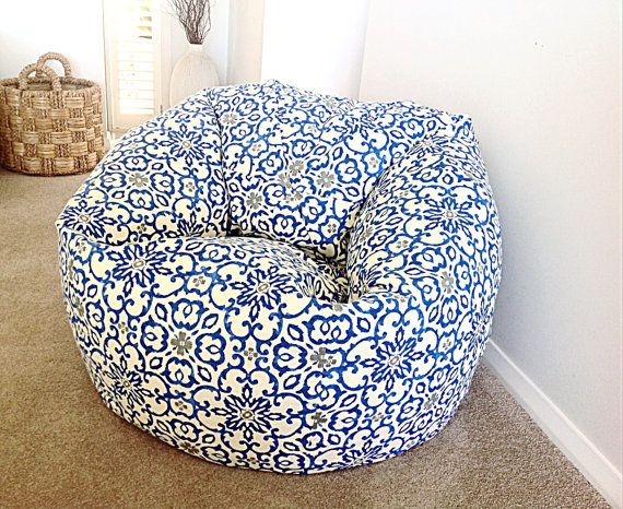 Bean Bag,  Cobalt Blue, Bohemian, Adults Bean Bag,  Kids Bean Bag, Teal Bean Bag, Fog Grey Boho Bean Bag