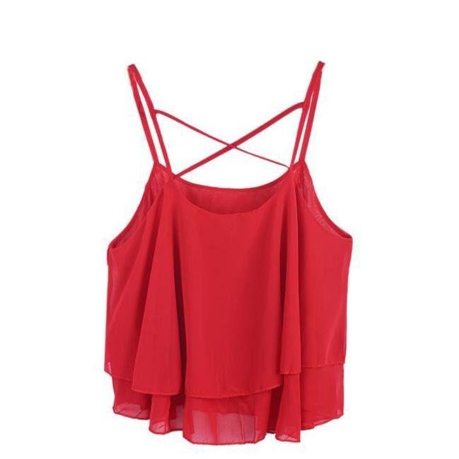 Chiffon Tank Top Women 2017 New Summer Sleeveless Shirt Sexy Ruffle Camis Loose Casual Female Tops Vest Ladies Beach Short Vest