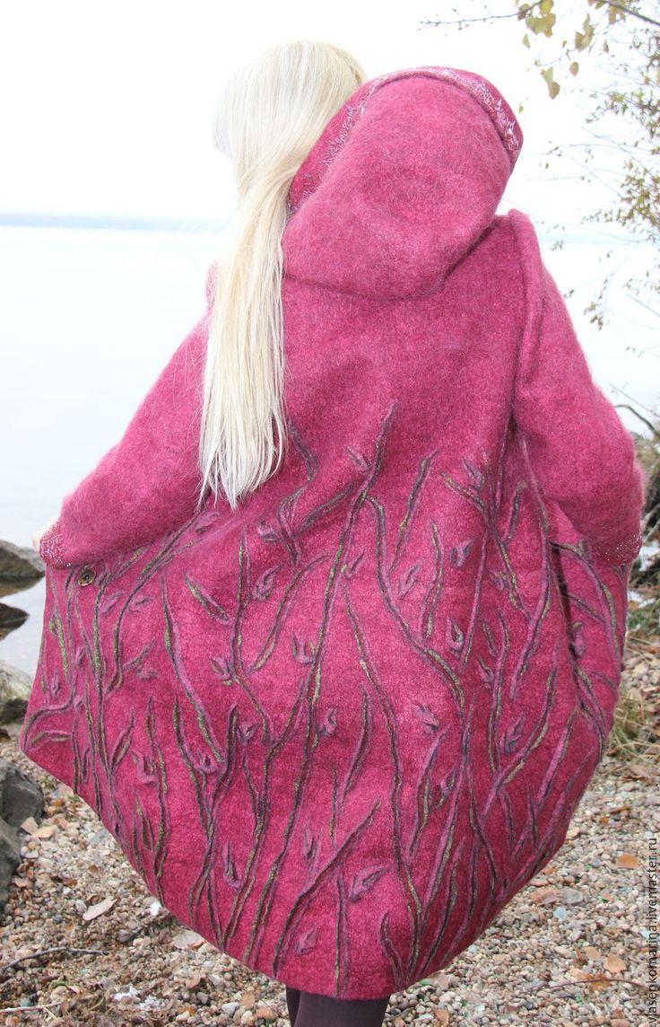 Купить Пальто валяное Снежная клюква - брусничный, цветочный, пальто, пальто валяное, пальто женское