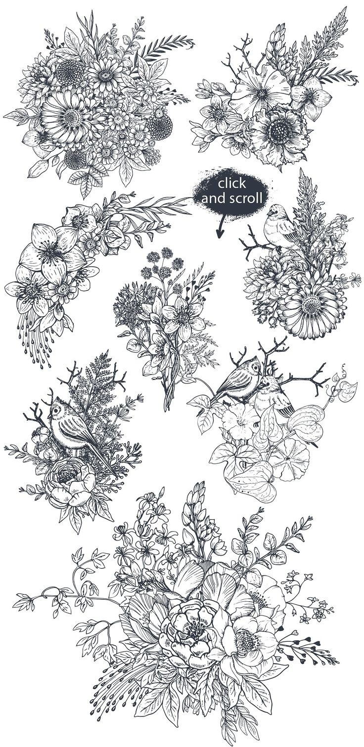 Hand drawn flowers and bouquets by Fancy art on Creative Market