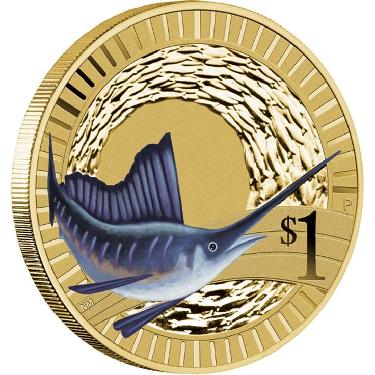 Young Collectors Animal Athletes - 2012 Sailfish $1 Coin | The coin's reverse portrays a coloured Sailfish set against a background school of fish.