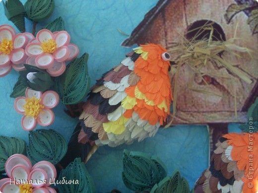 Картина панно рисунок День рождения Бумагопластика Квиллинг В саду   Бумага Бумага гофрированная Бумажные полосы Проволока фото 3