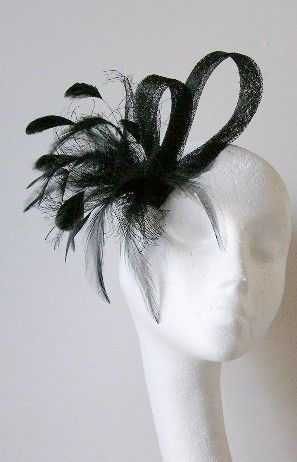 Black  Fascinator Hat for Weddings Races and by Hatsbycressida, $45.00