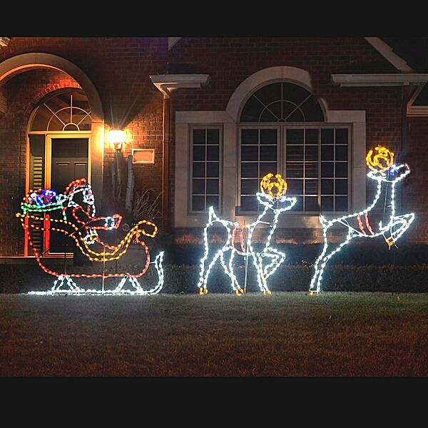 Large Santa In Sleigh Reindeers Led Lighted Outdoor Decoration Christmas Prop S Reindeer Outdoor Decorations Outdoor Christmas Decorations Outdoor Christmas