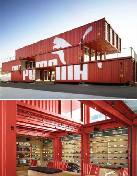 Shipping containers aren't exactly the most aesthetically pleasing architectural building blocks in the world, but in the hands of the right designer, they can become something spectacular. The PUMA container store isn't just portable and green, it's quite stunning with its cantilevered deck and interior combination of sleek wood and industrial steel.