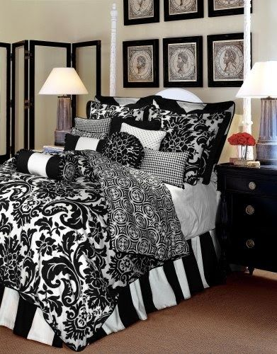 black and white bedding. Love, love, love this for my new Master Bedroom!!