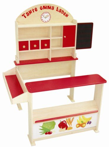 Roba Wooden Play-Shop with Sales Counter, Front Storage and Blackboard, 3 Wooden Drawers, Laminated Wood and MDF, Painted, 103x75x113 cm (LxWxH), 1 Sliding Door, Side Counter and Clock (92802): Amazon.co.uk: Toys & Games
