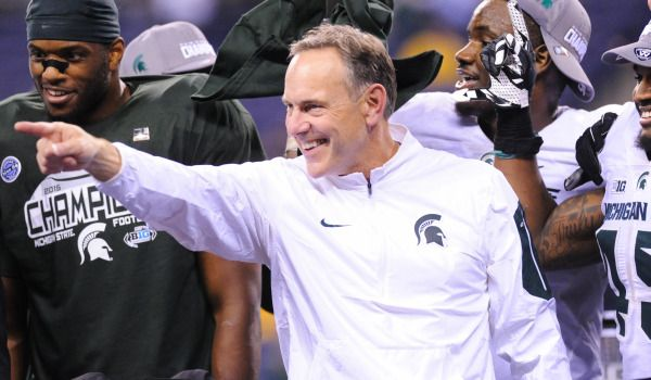 Mark Dantonio celebrates after the game against the Iowa Hawkeyes in the Big Ten Conference football championship game at Lucas Oil Stadium. Credit: Thomas J. Russo-USA TODAY Sports