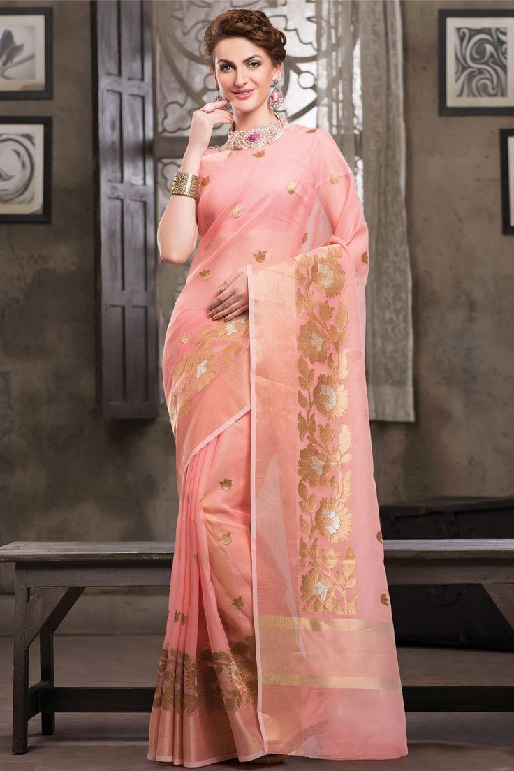 Comfy Light Pink Weaved Cot Silk Saree In Golden Border